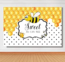 Sensfun 7x5ft Sweet As Can Bee Baby Shower Backdrop for Photography Yellow Bee-Day Honeycomb Bumble Bee Theme Birthday Party Cake Table Banner Gender Reveal Background for Photo Studio Props