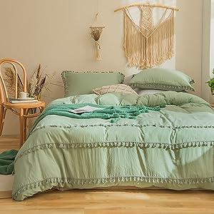Bedbay Sage Green Bedding Set Twin Tufted Tassel Duvet Cover Set Solid Green Tassel Fringed Boho Chic Bedding Set for Girls Boys 1 Duvet Cover 1 Pillow Shams(Green, Twin)