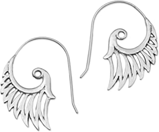 Paisley Spiral .925 Sterling Silver Drop Earrings 'Winged Beauty'