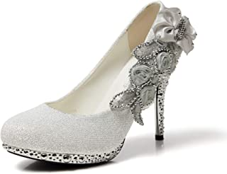 Women's Silver Lace Flower Pearls Closed Toes Wedding...