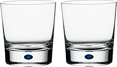 Orrefors Intermezzo Blue 11 Ounce Double Old Fashioned Glass, Set of 2