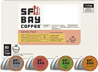 SF Bay Coffee Variety Pack 80 Ct  Compostable Coffee Pods, K Cup Compatible including Keurig 2.0