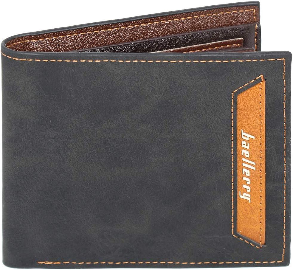imeetu Mens Vintage Wallet,Bifold Card Holder Leather Wallet (C-Black)
