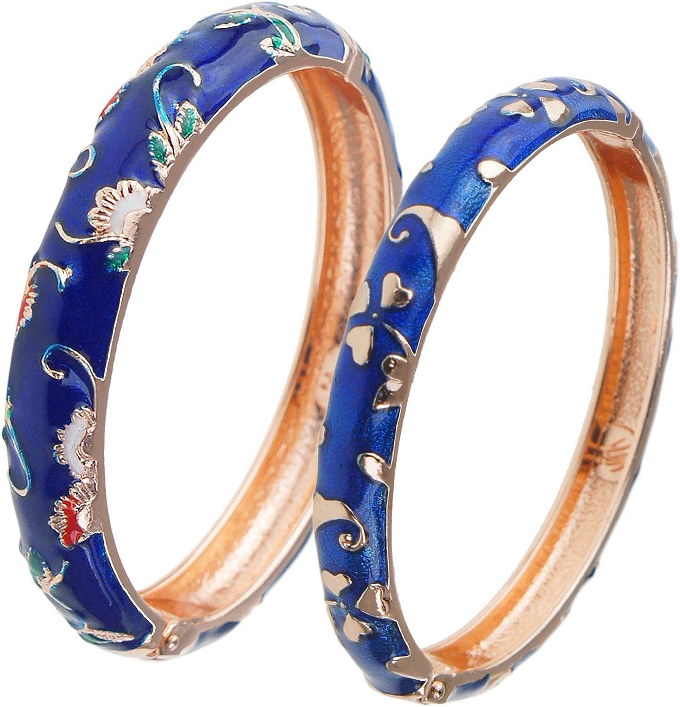 UJOY Handcrafted Cloisonne latest Bangle Bracelets Butterfly Golden Ena Financial sales sale
