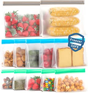 Reusable storage bags, 12 Pack Reusable Freezer Bags (5 Reusable Sandwich Bags, 5 Reusable Snack Bags, 2 Reusable Gallon Bags) Stand Up BPA Free Leakproof Silicone Bags for Food Meat Fruit Veggies