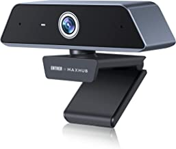 Enther & MAXHUB 4K Webcam with Microphone, HD Webcam with AutoFocus Auto Light Correction,Plug and Play USB Webcam for Liv...