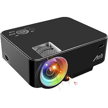 Artlii Retroprojecteur Mini, Videoprojecteur Portable LED Soutien HD 1080p, 3800lumen, 200'', Video projecteur Compatible HDMI USB VGA AV iphone,Mac,Android pour Film, Jeux