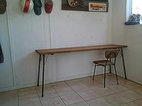 ハンドメイド ダークブラウン仕上げ アイアンテーブル 鉄脚180×50高さ72
