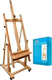US Art Supply Malibu Extra Large H-Frame Deluxe Adjustable Wood Studio Easel with Tilt and Caster Wheels