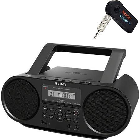 Sony Bluetooth Portable Cd Player Stereo Sound System Bundle/Digital Tuner AM/FM Radio Cd Player Mega Bass Reflex Stereo Sound System Included A NeeGo Wireless Bluetooth Receiver (Renewed)
