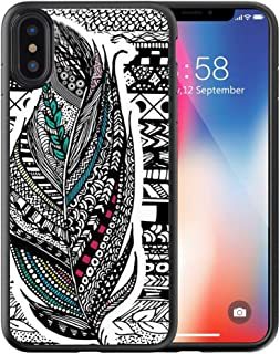 Compatible with Apple iPhone Xs Case Customized Black Soft Rubber TPU Case for iPhone X Case Black Aztec Feather