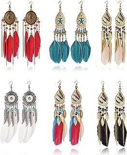 6 Pairs Women Faux Feather Earrings Bohemian Fringe Tassel Long Drop Dangle Earrings Set with Dream Catcher Design