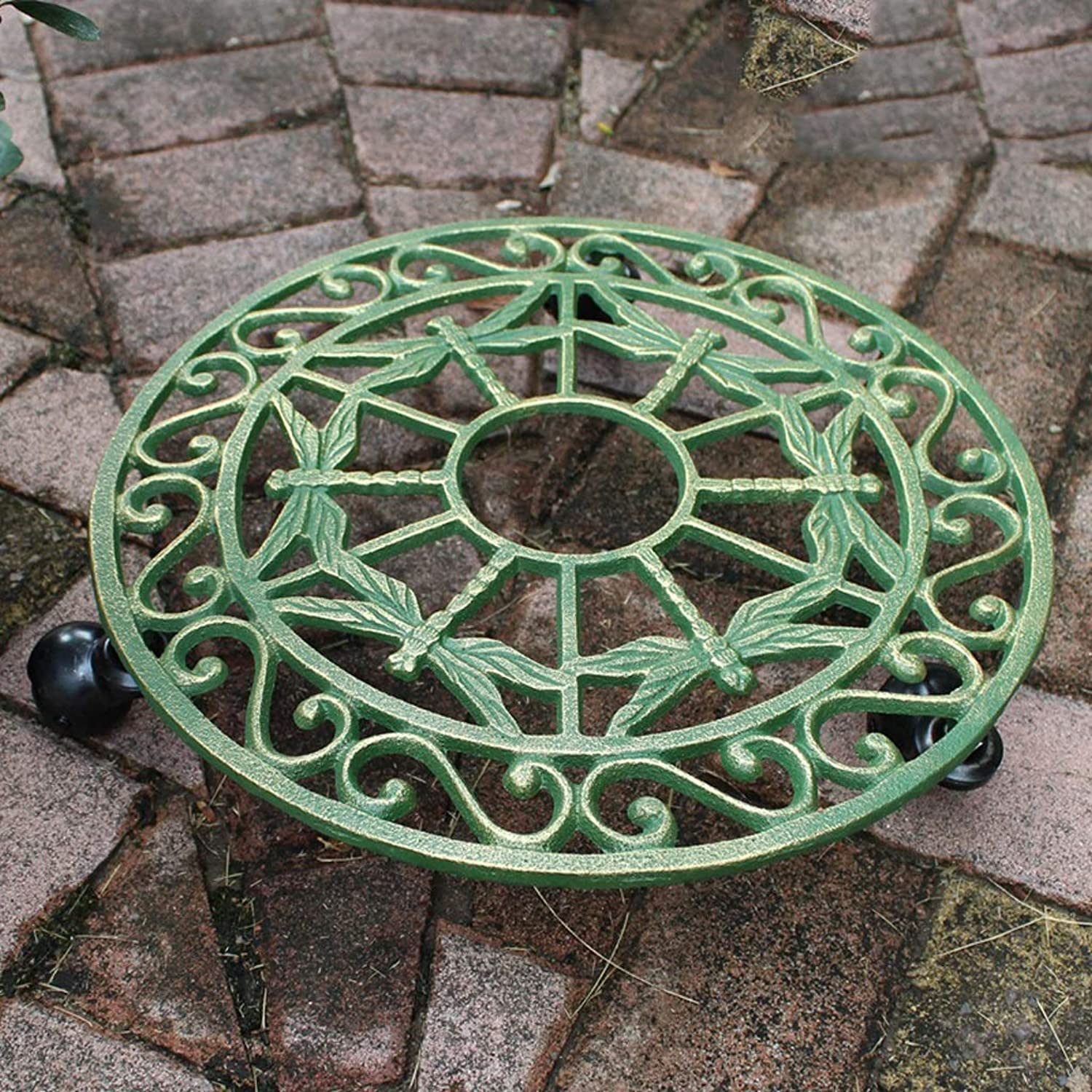 Creative Personality Cast Iron Dragonfly Round Disk European Style Indoor Mobile Flower Pot Rack Wrought Iron Garden Flower Pot Base Diameter 37cm Dark Green