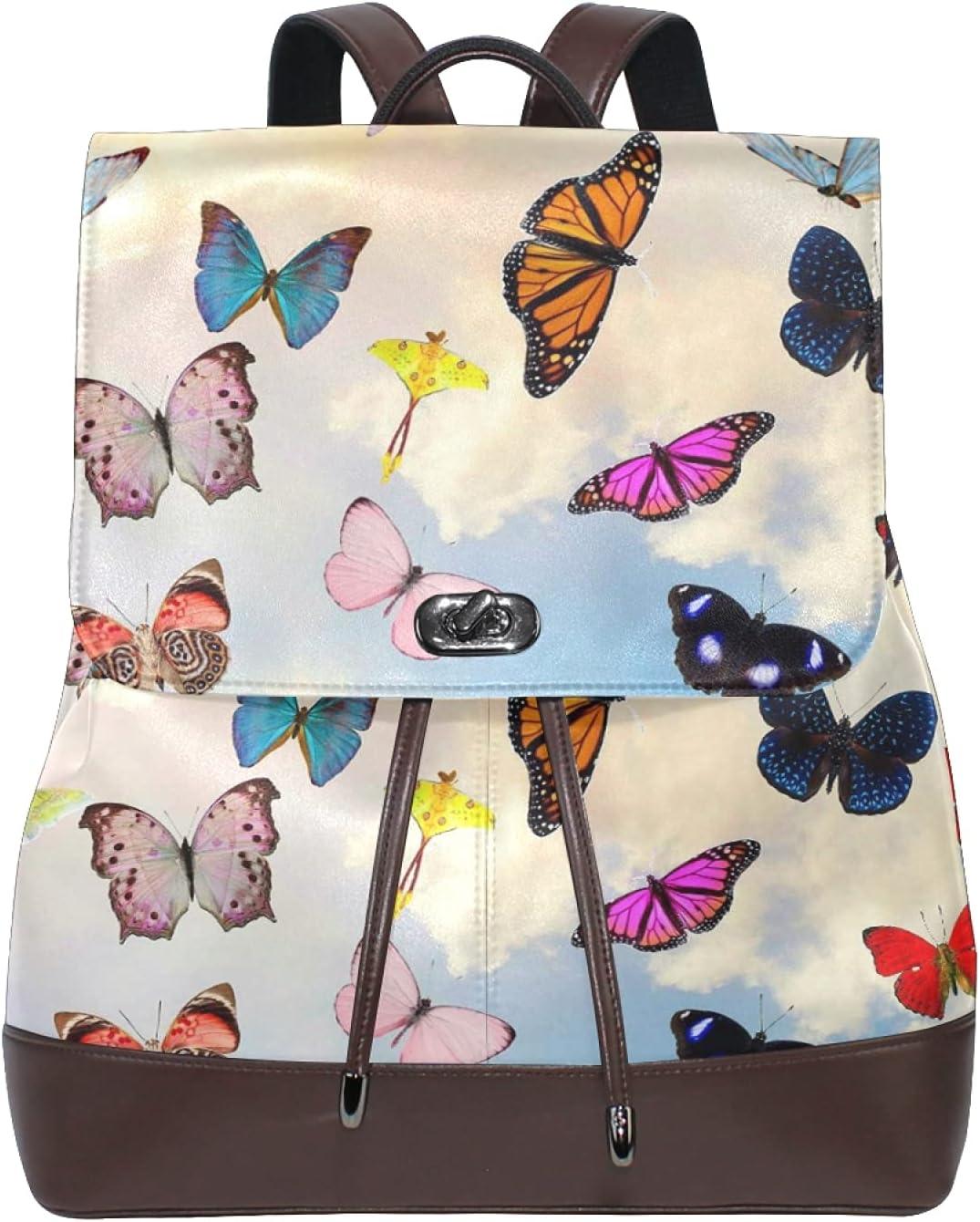 Women Leather Backpack Ladies Fashion Shoulder Bag Large Travel Bag Butterfly Sky Collage