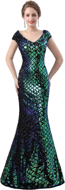 Ikerenwedding Women's Capped VNeck Sequins Sheer Back Mermaid Evening Dress