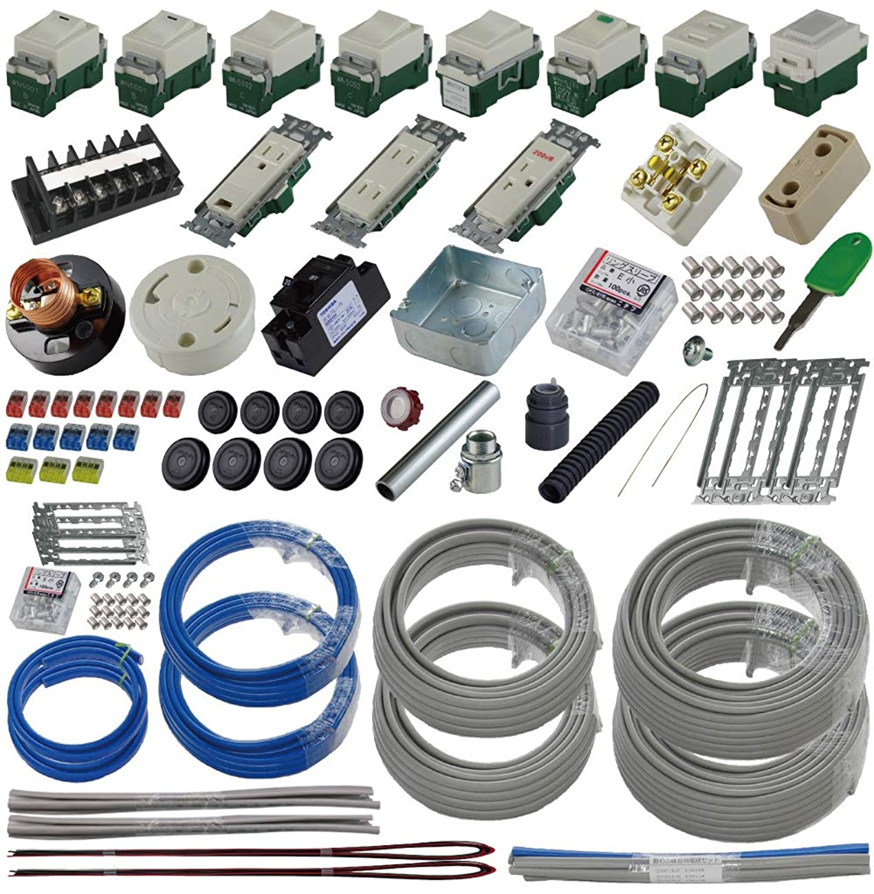 準備万端 (2回練習分) 第二種電気工事士技能試験練習用材料 「全13問分の器具?電線セット」
