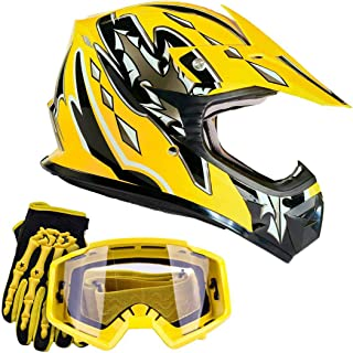 Typhoon Youth Kids Offroad Gear Combo Helmet Gloves Goggles DOT Motocross ATV Dirt Bike MX Motorcycle Yellow, Small