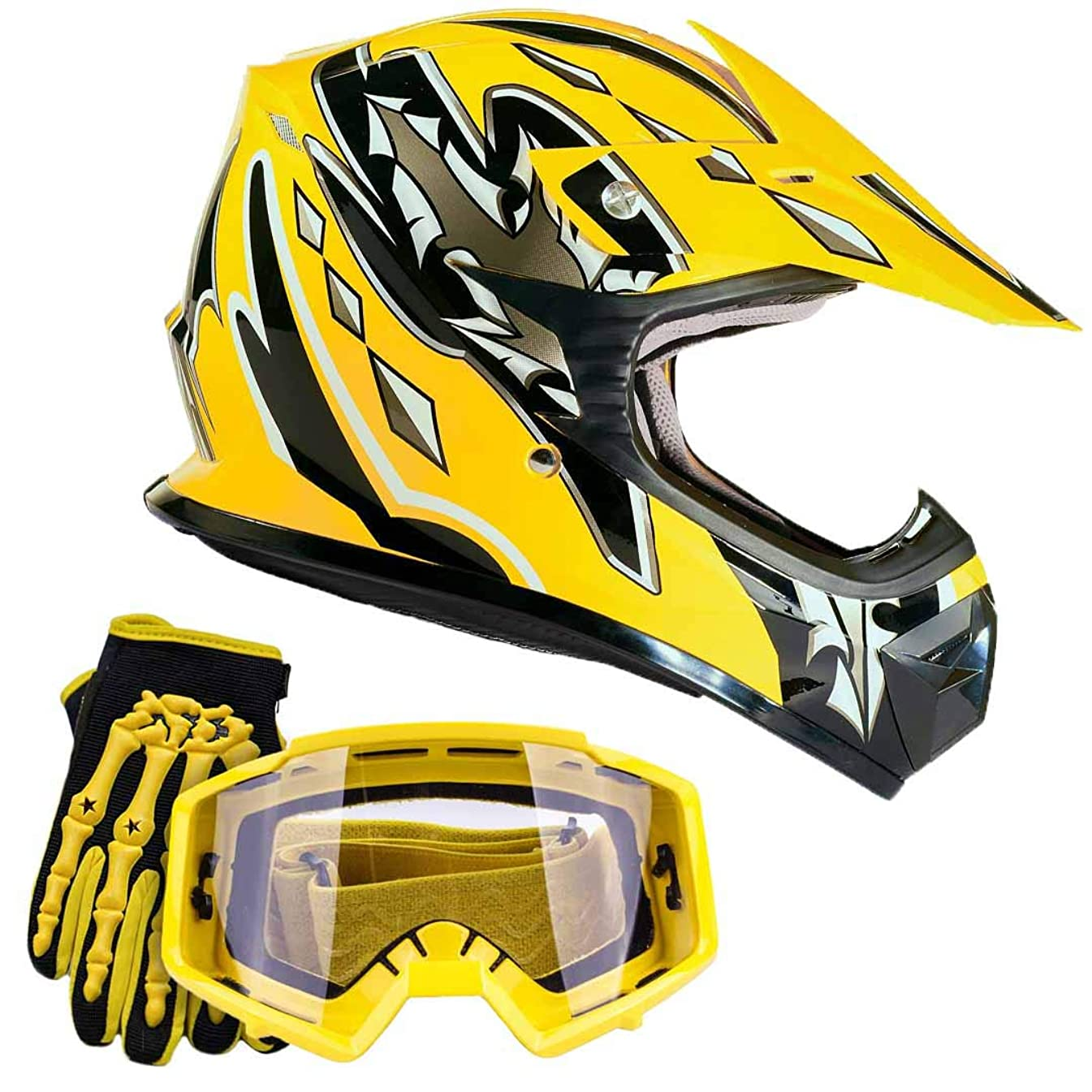 Youth Kids Offroad Gear Combo Helmet Gloves Goggles DOT Motocross ATV Dirt Bike MX Motorcycle Yellow, Large