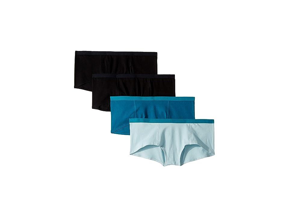 PACT Everyday Organic Cotton Boyshorts 4-Pack (Black/Teal/Mist) Women
