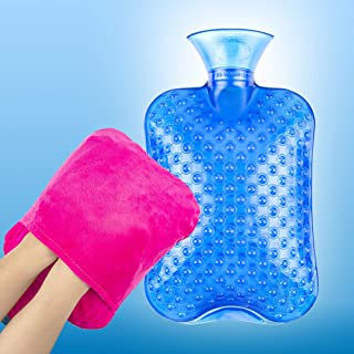 Kayota Hot Water Bottle with Cover, Hot Water Bag for Kids, Thicker PVC Water Warm Bottle 2L for Warm Body & Daily Use, Blue