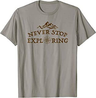 Never Stop Exploring Outdoor Hiking Retro Vintage Graphic T-Shirt