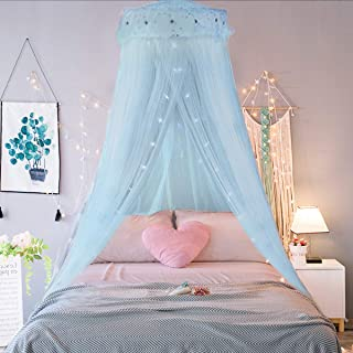 Jeteven Girl Bed Canopy Lace Mosquito Net for Girls Bed, Princess Play Tent Reading Nook Round Lace Dome Curtains Baby Kids Games House (Light Blue)