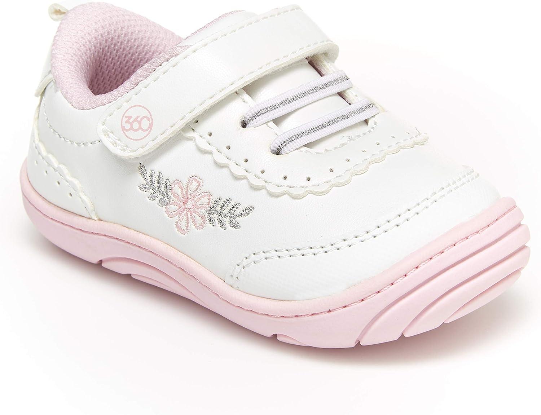 Stride Rite Girls' Natalia Dual Width Insole Shoe Sneaker, White, 4.5 M US Toddler