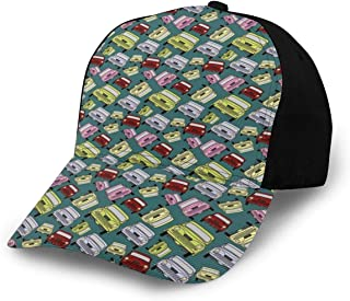 GULTMEE Hip Hop Sun Hat Baseball Cap,Nostalgic Car Figure with Garage Service and Repair Store Phrase Dated Faded Theme,for Men&Women