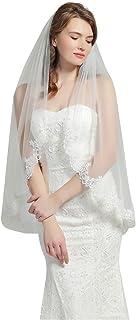 "Wedding Bridal Veil with Comb 1 Tier Eyelash Lace Trim Applique Edge Fingertip Length 37"" Ivory White"