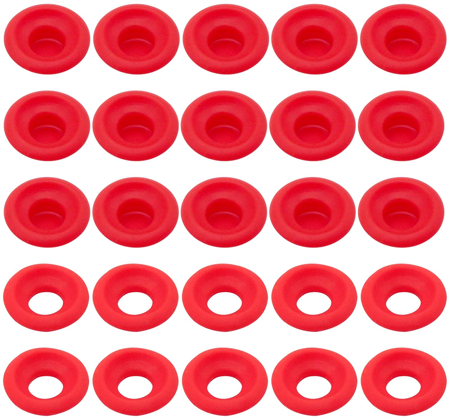 ACKLLR 50 Pieces Silicone Rubber Gaskets Washer, 2 Types High Pressure Leak-proof Seals for EZ Cap Swing Flip Top Bottle Seals Gasket for Home Brew Beer Soda Bottle Sealing, Red
