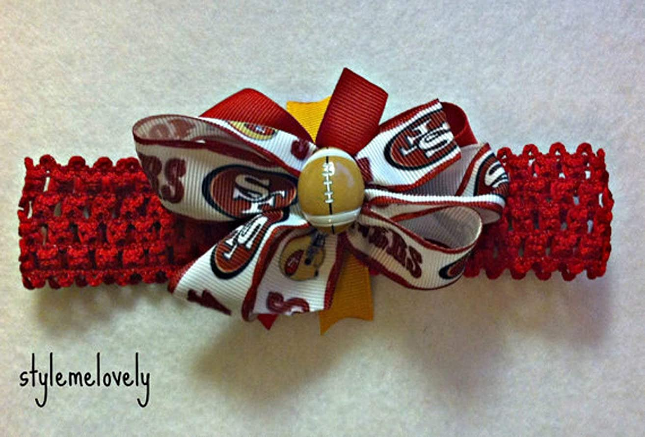 San Francisco 49ers Baby Girl Boutique Bow Crocheted Headband- Fits newborn- adult