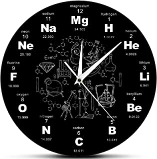 Periodic Table of Elements Wall Art Chemical Symbols Clock, Educational Elemental Display Classroom Decor Teacher's Gift, ...