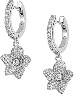 Blooming Pave Bloom Drop Huggies Earrings