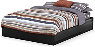 South Shore Vito Mates Bed with 2 Drawers, Queen 60-inch, Pure Black