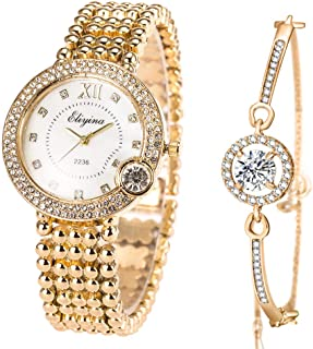 ManChDa Luxury Ladies Watch Iced Out Watch with Quartz Movement Crystal Diamond Classic Fashion Romantic + Jewelry Cuff Br...