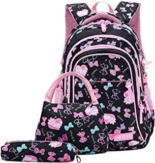 3Pcs Bowknot Cat Prints Elementary Girls School Bookbag Rucksack for Primary Girls School Backpack Set with Lunch Kits