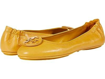 Tory Burch Minnie Travel Ballet w/ Leather Logo (Mustard/Mustard) Women