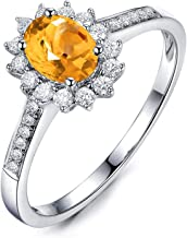 KnSam Sterling Silver Jewelry Wedding Bands Ring for Women Fashion Oval Shape Citrine 9x7MM