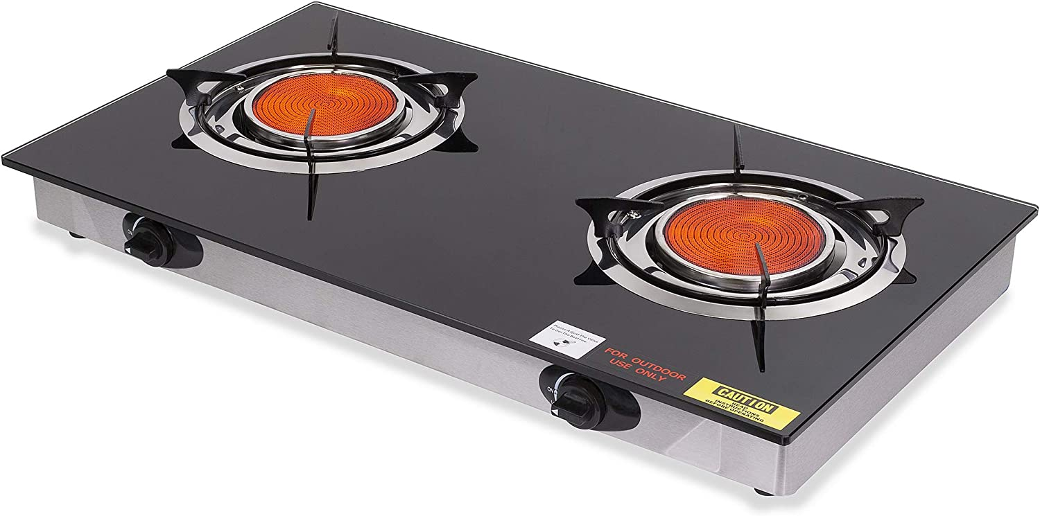 Barton Deluxe Propane Gas Range Stove 2 Burner Cooktop Auto Ignition Outdoor Grill Camping Stoves Station LPG