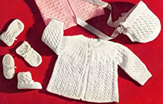 Vintage Knitting PATTERN to make - Knitted Eyelet Lace Baby Sweater Cap Booties MittensKnitting Set. NOT a finished item. This is a pattern and/or instructions to make the item only.