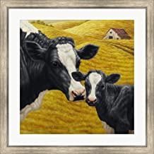 Holstein Cow and Calf by Crista Forest Framed Art Print Wall Picture, Silver Scoop Frame, 32 x 32 inches