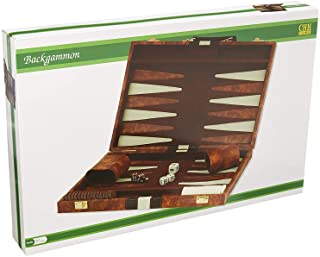 "14.75"" Recreational Board Game Vinyl Backgammon Set – Brown & White"