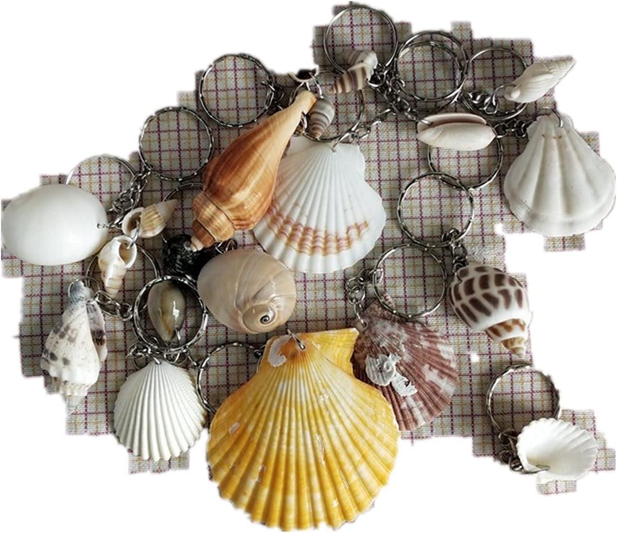 TL TONGLING Shells 10pcs Nautical Scallop Sea Shells Charms Crafts Colorful Pendant Keychain Bag Car Keyring Souvenirs Gifts