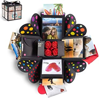 XOXO Explosion Box with Designer Illustrations - Pre-Assembled - 5 Inch Cube (Bears)