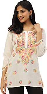 Ada Hand Embroidered Chikankari Indian Cotton Top Tunic Blouse A225311