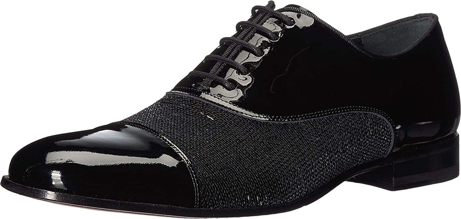 Mezlan Davos - Mens Luxury Lace-Up Dress Shoes - Black Formal Blucher Oxfords with Leather Sole - Woven Calfskin and Fabric Vamp - Handcrafted in Spain - Medium Width