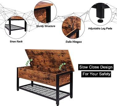 Industrial Storage Bench, Entryway Lift Top Shoe Storage Bench in Dining Room, Hallway, Living Room Metal Frame