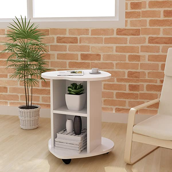DL Furniture Small Coffee Table Bedside Cabinet Sofa Small Side Table White