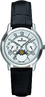 Grovana Unisex 3025-1533 Moonphase Analog Display Swiss Quartz Black Watch