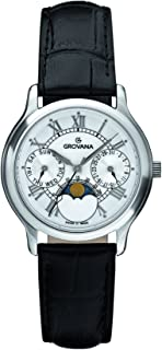 Grovana Unisex 3025-1533 Moonphase Analog Display Swiss Quartz Black Watch